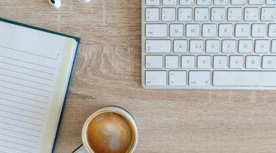 coffee near wireless keyboard